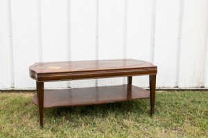 coffee table wood brown rental event wedding furniture decor dallas fort worth